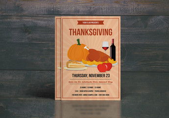 Thanksgiving Party Flyer with Turkey Dinner Illustration 1