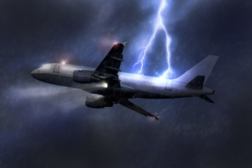 passenger airplane being hit by a lightning in a storm mid air