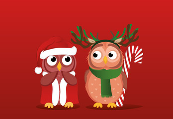 Owlet boy in a deer suit wants to give a Christmas candy gift