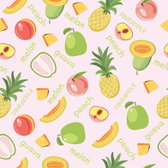 Vector seamless background of fruits peach, guava, melon, pineapple