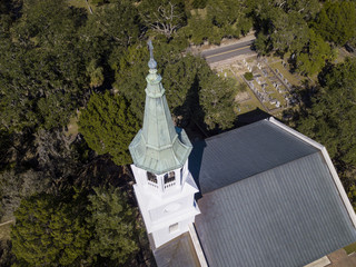 Aerial view of church and steeple in Beaufort, South Carolina