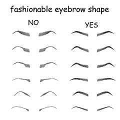 Right and wrong brow   shapes.