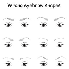 wrong eyebrow shapes illustration