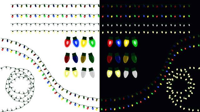 Christmas Light Brush with Bulbs On and Off