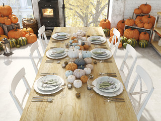 thanksgiving table in an apartment. 3D rendering. thanksgiving concept.