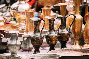 Tbilisi, Georgia. Close View Of Jugs In Shop Flea Market Of Antiques Old Retro Vintage Things Wall mural