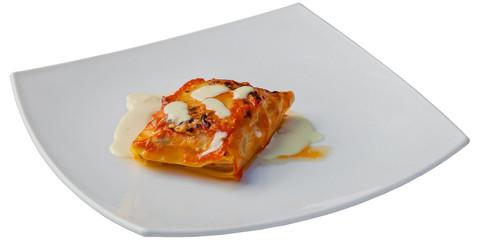 Italian food - classic Lasagna with bolognese sauce.