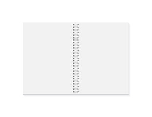 Vector realistic opened notebook. Vertical blank copybook with metallic silver spiral. Template of organizer or diary isolated.