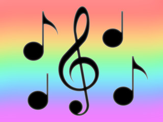 Treble clef and notes on the rainbow background