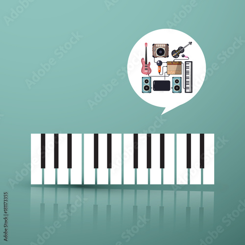 Music Symbol Piano Keyboard With Instruments In Bubble Stock Image