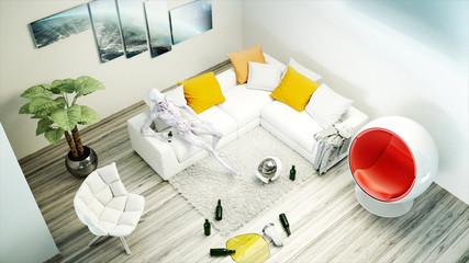 Funny alien with beer sit on sofa. Relax. Alien concept. 3d rendering.
