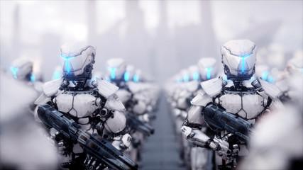 invasion of military robots. Dramatic apocalypse super realistic concept. Future. 3d rendering.
