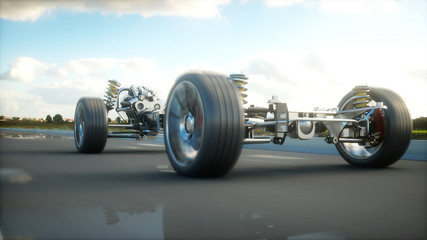 Car chassis with engine on highway. Very fast driving. Auto concept. 3d rendering.