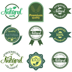 Set of green labels and badges with leaves for organic, natural, bio and eco friendly products isolated on white background. Set of design elements. Vector
