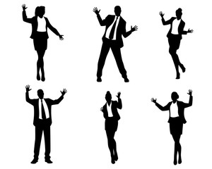 Dancing business people