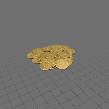 Pile of old gold coins
