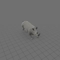 Stylized rhinoceros running