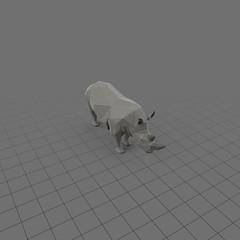 Stylized rhinoceros standing