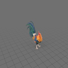 Stylized rooster standing