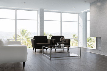 White living room interior black armchairs
