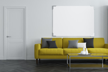 White living room, yellow sofa