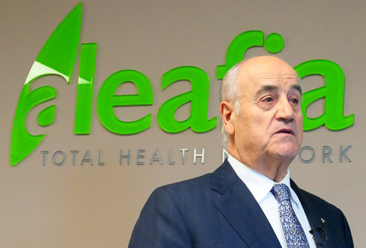 Former police chief and Conservative cabinet minister  Julian Fantino speaks about his company, Aleafia, which authorizes patients with authorizations for medical marijuana use, during an interview in Toronto