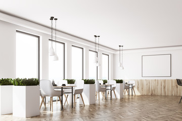 White cafe interior, corner, poster, wood