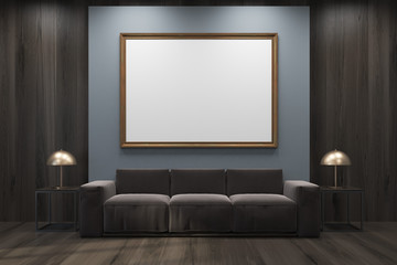 Gray and wooden living room, sofa, framed poster