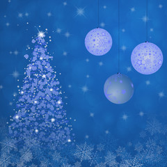 Christmas time. Christmas trees with bowls and snowflakes in blue winter landscape.