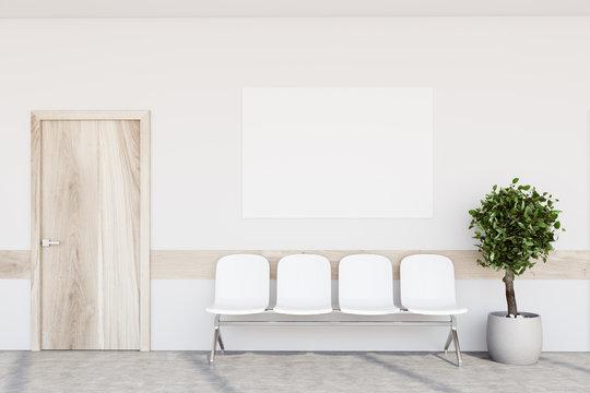 White hospital lobby, poster, tree
