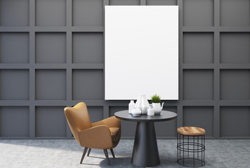 Black dining room, poster, table