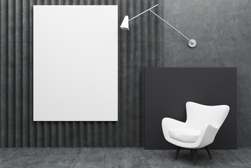 White armchair and a poster, black