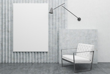 White armchair and a poster, gray