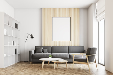 White and wooden loft living room, poster