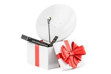 Gift box with digital satellite receiver and satellite dish, 3D rendering