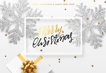 Christmas background with gifts box and shining silver snowflakes. Merry Christmas card vector Illustration.