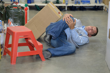 dangerous accident in warehouse during work