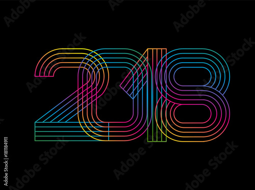 2018 happy new year numbers minimalist style vector linear numbers design of greeting