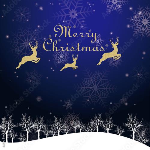 クリスマスのイメージ背景画像 イラスト夜景 赤 雪の結晶と樹氷の風景