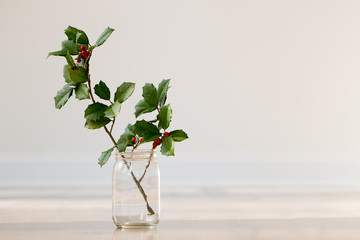 holly branch in glass jar vase