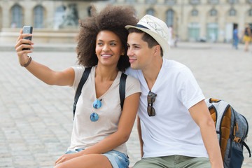 couple making a selfie on a holiday