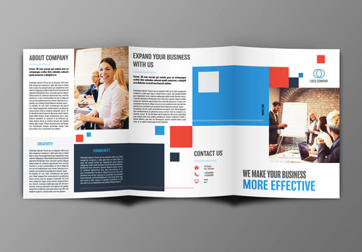 Trifold Brochure Layout with Red and Blue Accents