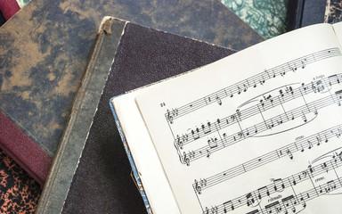 Alte Musiknoten, Notenblätter, Beerdigung, Hintergrund