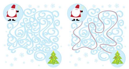 Święty Mikołaj i choinka / łatwy labirynt dla dzieci, rozwiązanie