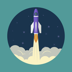 Space rocket launch, ship, vector. Start up concept illustration of a business product on the market.