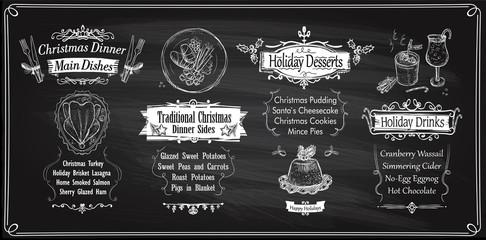 Chalk Christmas menu chalkboards design, holiday menu - main dishes, sides, desserts and drinks