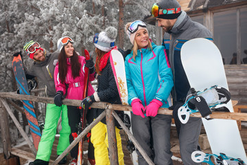Best friends spend winter holidays at mountain cottage