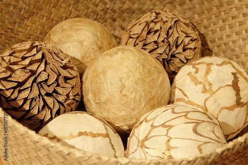 Natural Decorative Balls In A Wooden Basket Stock Photo And Royalty Simple Natural Decorative Balls