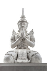 The Thai antique statue isolated on white background