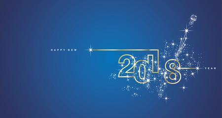 New Year 2018 line design firework gold white blue vector